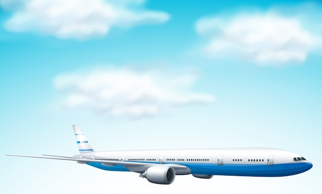 Large commercial aircraft in sky