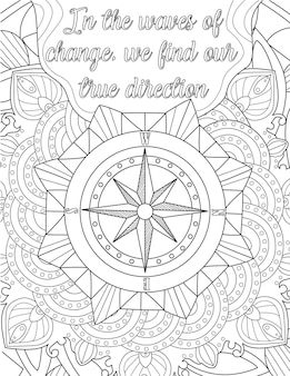 A large compass drawing is tilted under inspirational vibe message. beautiful positive vibe letter written in the waves of change, we find our true direction.