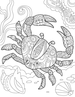 Large crab top view underwater surrounded by sea shells colorless line drawing big decapod