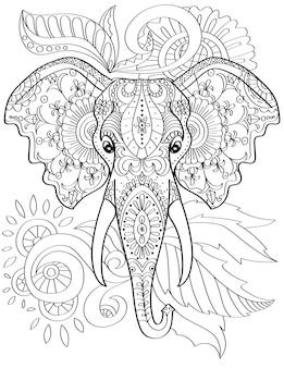 두 개의 엄니가 있는 큰 코끼리 머리는 앞으로 무색 선을 그리는 거대한 매머드 얼굴을 향하고 있습니다.