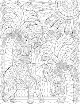 Большой слон с высокими кокосовыми пальмами, птицы, летающие солнце в небе, бесцветный рисунок линии большой
