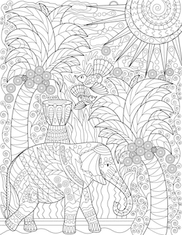 Large elephant with tall coconut trees birds flying sun in the sky colorless line drawing big
