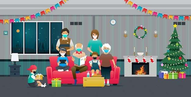 대가족은 covid19의 확산을 방지하기 위해 마스크를 착용하고 크리스마스를 축하