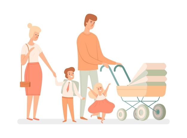 大きい家族。親と子。幸せな母、父と赤ちゃん、息子と娘。漫画フラットイラスト