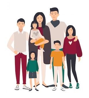 Большой семейный портрет. азиатская мама, папа и пятеро детей. счастливые люди с родственниками. красочная плоская иллюстрация.