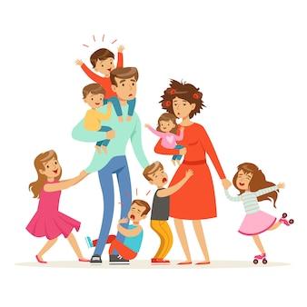 多くの子供たちと大家族。子供、赤ちゃん、疲れた両親のイラスト