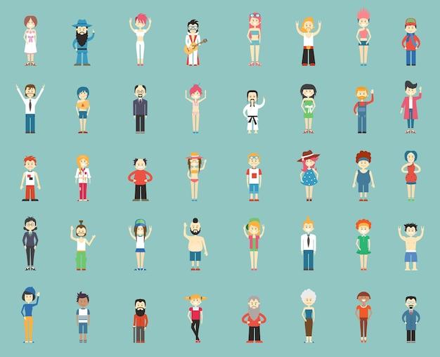 Большая группа мультипликационных людей, векторные иллюстрации