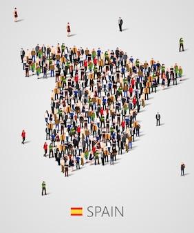 スペインの地図の形で人々の大規模なグループ。スペインの人口または人口統計テンプレート。