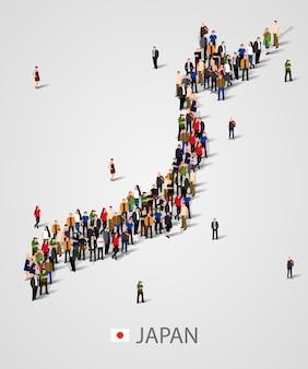 日本の大勢の人々が地図を作成します。日本の人口または人口統計テンプレート。