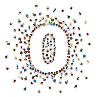 숫자 0 0 형태의 사람들의 큰 그룹입니다. 사람 글꼴 . 벡터 일러스트 레이 션
