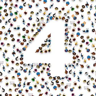 숫자 4 4 형태의 사람들의 큰 그룹입니다. 사람 글꼴 . 벡터 일러스트 레이 션