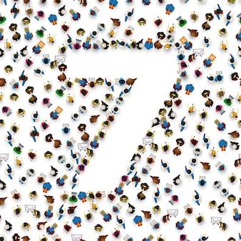 숫자 7 7 형태의 사람들의 큰 그룹입니다. 사람 글꼴 . 벡터 일러스트 레이 션