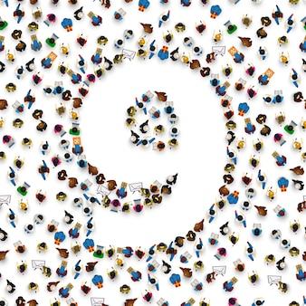 숫자 9 9 형태의 사람들의 큰 그룹입니다. 사람 글꼴 . 벡터 일러스트 레이 션