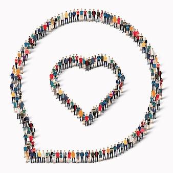 채팅 거품, 사랑의 모양에있는 사람들의 큰 그룹. 삽화