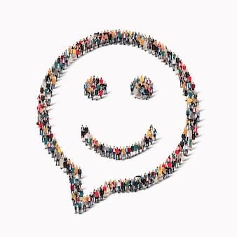チャット泡の形をした大人数のグループ、笑顔。図