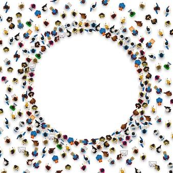 Большая группа людей в форме круга. векторная иллюстрация