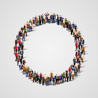 Большая группа людей в форме круга