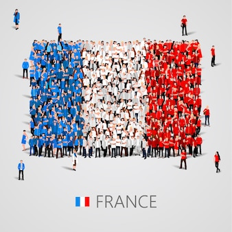 Большая группа людей в форме флага франции