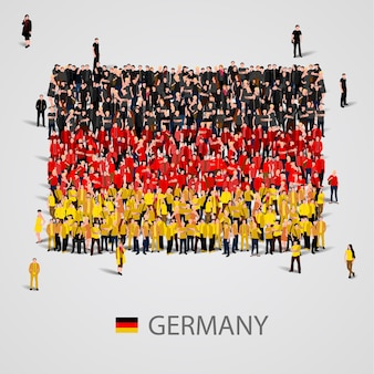 독일 국기 모양에있는 사람들의 큰 그룹
