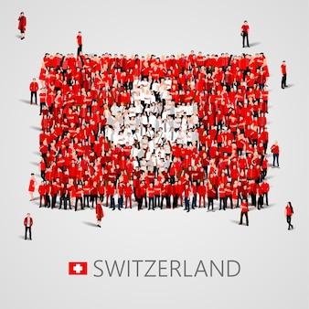 스위스 국기 모양의 사람들의 큰 그룹