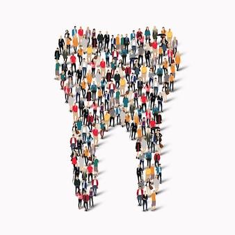 Большая группа людей в форме зуба. стоматологическая медицина.