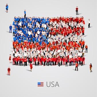 미국 국기 모양에있는 사람들의 큰 그룹