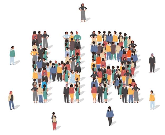 함께 서 있는 많은 사람들이 고용인을 고용하는 hr 문자 평면 벡터 일러스트레이션을 형성합니다.
