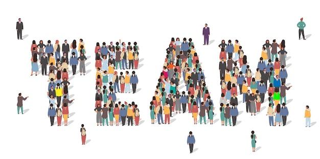 팀 단어 평면 벡터 일러스트 비즈니스 팀 작업을 형성 함께 서 있는 사람들의 큰 그룹...