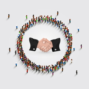 A large group of people in a circle with a sign of a handshake . vector illustration