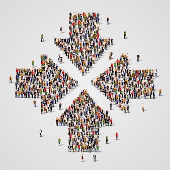 Large group of people in the form of convergent arrows
