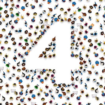 Large group of people in number 4 four form. people font. vector illustration
