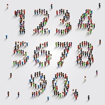 Large group of people in number set form. vector illustration