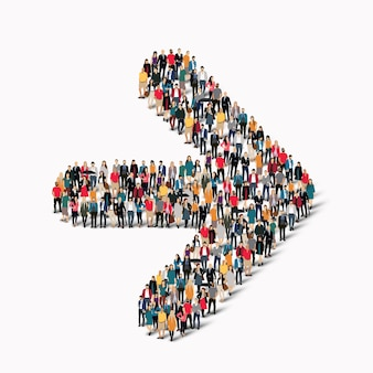 A large group of people in the shape of an arrow direction.  illustration