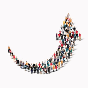 A large group of people in the shape of an arrow direction.