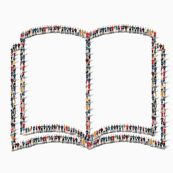 A large group of people in the shape of a book, reading.