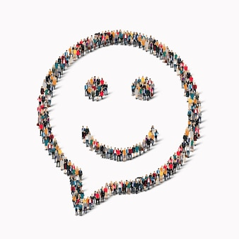 Large group of people in the shape of chat bubbles , smile.  illustration