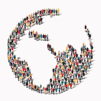 A large group of people in the shape of a globe.  illustration