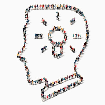 A large group of people in the shape of the head, light, idea, icon.
