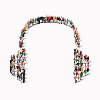A large group of people in the shape of headphones