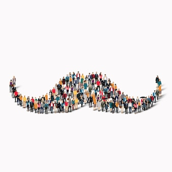 A large group of people in the shape of a mustache, hipster. .