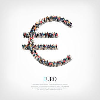 A large group of people in the shape of sign euro.  illustration.