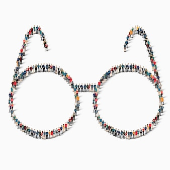 A large group of people in the shape of a sign glasses icon.