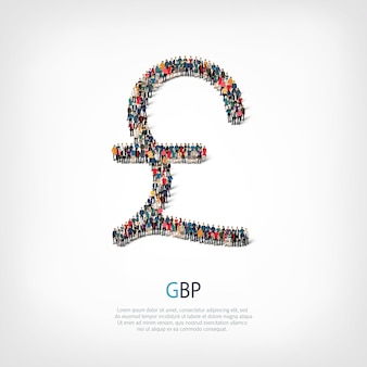 A large group of people in the shape of the sign pound sterling.  illustration.