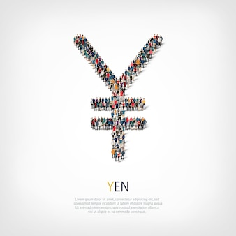 A large group of people in the shape of a sign of the yen.  illustration.