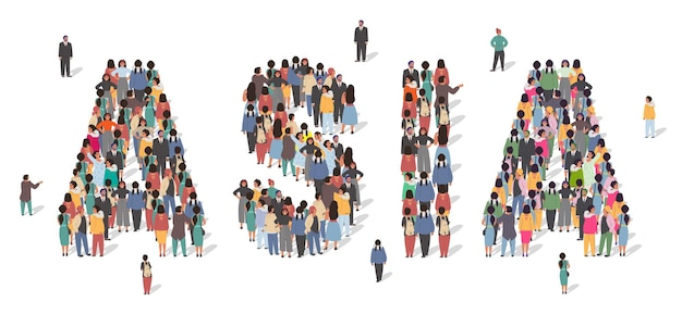 Large group of people standing together forming asia word flat vector illustration asia continent po...