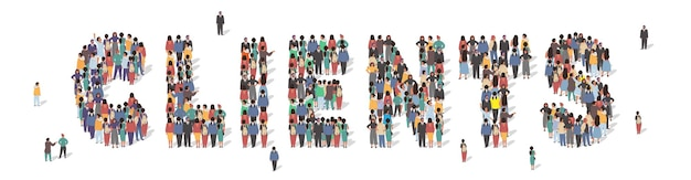 Large group of people standing together forming clients word flat vector illustration customer servi... Premium Vector