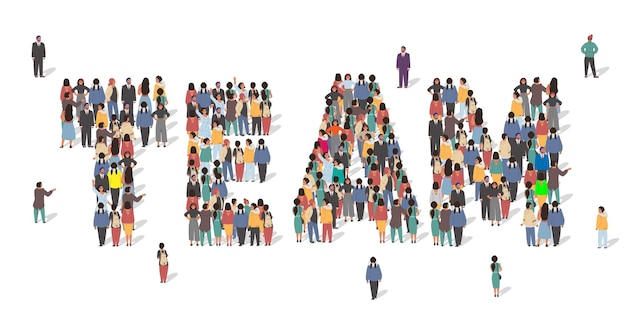 Large group of people standing together forming team word flat vector illustration business team wor...
