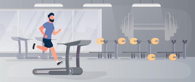 Large gym with guy running on treadmill