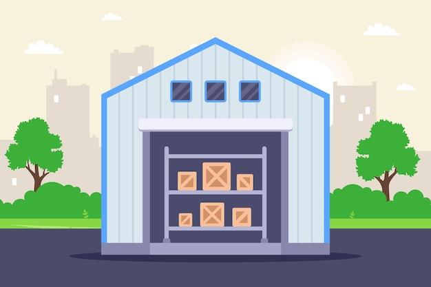 商品を収納するための大型格納庫。フラットベクトルイラスト。