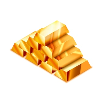 Large heap of realistic glossy golden bars in isometric view on white